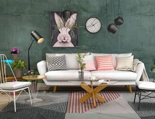 沙发组合, 沙发茶几组合, 装饰画, 吊灯, 单椅, 茶几, 现代