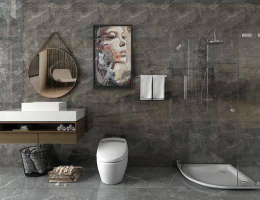 臺盆馬桶, 淋浴, 洗手臺組合, 裝飾鏡, 現代