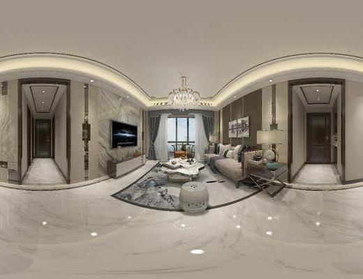 客廳, 餐廳, 沙發組合, 沙發茶幾組合, 臺燈吊燈, 餐桌椅組合, 家裝全景, 擺件組合, 新中式