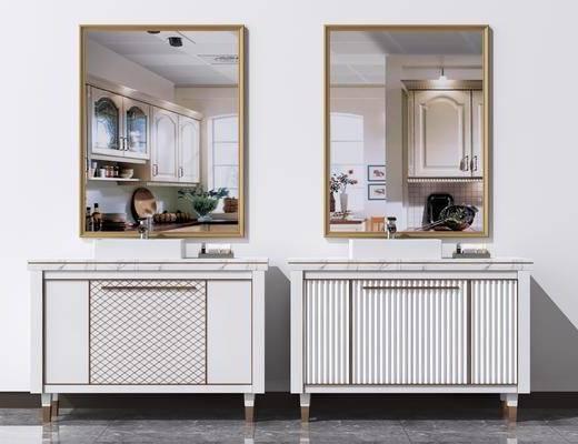 浴室, 卫浴柜, 洗面台, 镜子