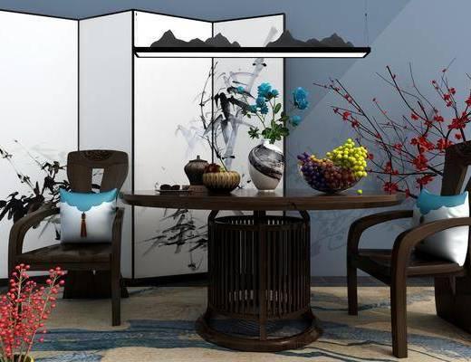 餐桌椅, 圆桌, 餐桌, 餐椅, 单人椅, 花瓶花卉, 水果, 吊灯, 隔断屏风, 中式