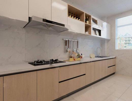 现代简约, 厨房, 橱柜, 日用品组合, 油烟机, 灶具