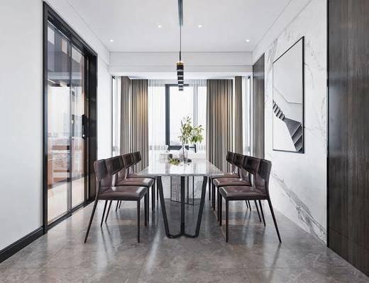 沙发组合, 装饰画, 单椅, 茶几, 餐桌, 吊灯