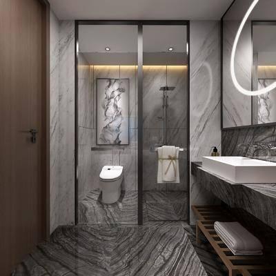 卫浴组合, 洗手台, 马桶, 装饰画, 花洒, 新中式