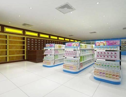 现代药店, 药店, 货架, 现代, 现代货架