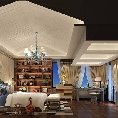 儿童房, 现代, 新中式, 卧室, 床, 吊灯, 边柜, 桌子, 置物架, 摆件, 玩具