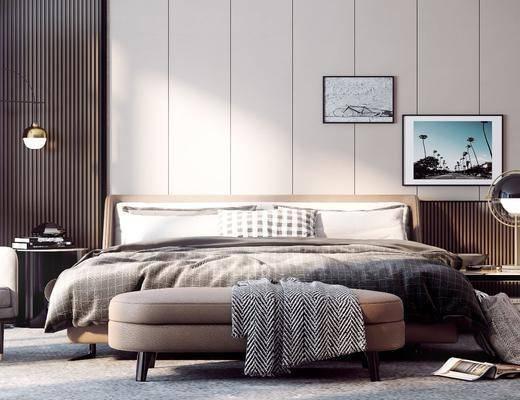 现代, 床具组合, 双人床