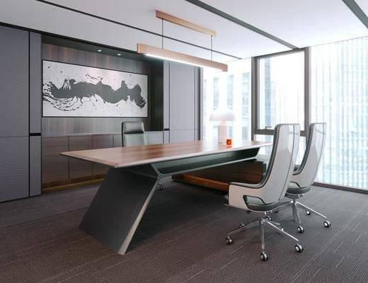 办公桌, 办公椅, 现代办公桌椅组合, 现代, 桌子, 椅子, 挂画