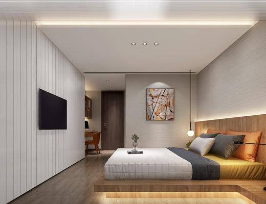 现代, 卧室, 双人床, 挂画, 吊灯, 台灯