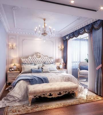 卧室, 双人床, 床尾凳, 床头柜, 吊灯, 单人沙发, 壁灯, 新古典