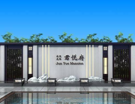 园艺小品, 庭院景观墙, 背景墙, 灌木, 绿植植物, 树木, 新中式