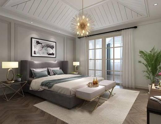 卧室, 床, 脚踏, 吊灯, 床头柜, 推拉门, 绿植