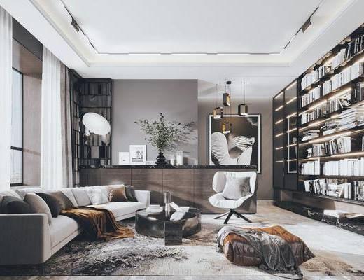 沙发组合, 茶几, 书柜, 单椅, 书籍