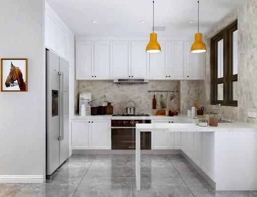 厨房橱柜, 冰箱, 吧台, 厨具, 油烟机, 燃气灶, 集成灶窗, 窗户, 洗菜盆, 吊灯, 装饰画, 挂画, 美式