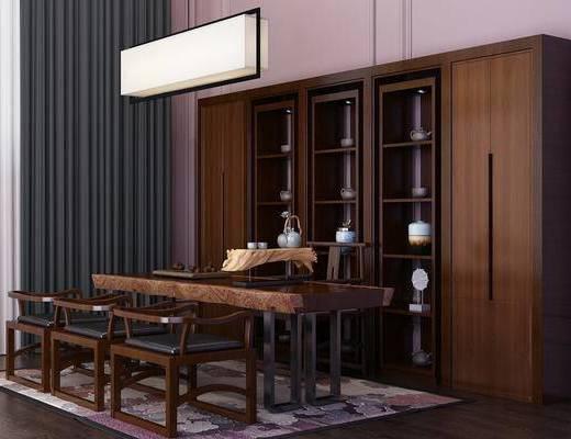 茶室, 茶几, 单人椅, 装饰柜, 吊灯, 摆件, 装饰品, 陈设品, 中式