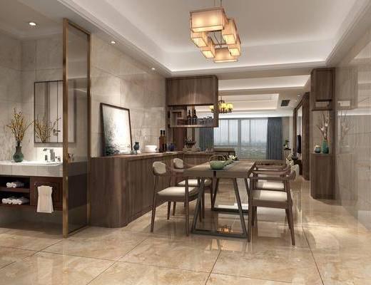 餐厅, 餐桌, 餐椅, 单人椅, 边柜, 洗手台, 吊灯, 摆件, 装饰品, 茶具, 装饰镜, 陈设品, 新中式