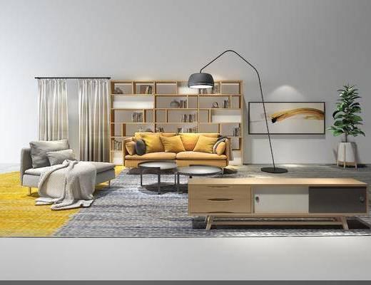 现代布艺沙发, 茶几, 电视柜, 装饰架, 落地灯, 沙发组合, 现代