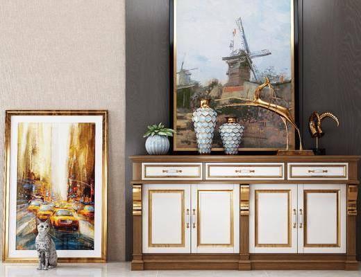 美式边柜玄关柜, 美式, 边柜, 装饰品, 摆件, 鹿