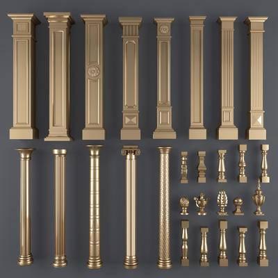 罗马柱, 镀金, 柱子, 花瓶柱, 欧式柱