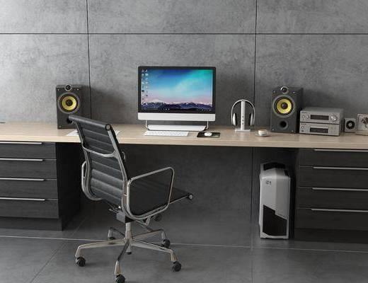主机, 音响, 电脑, 桌椅组合