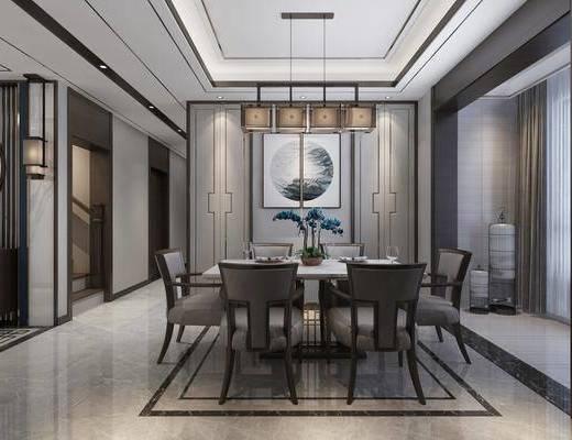 餐厅, 餐桌椅组合, 吊灯, 挂画组合, 新中式