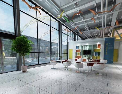 大厅接待, 大堂大厅, 休息区, 单人椅, 桌子, 盆栽, 绿植植物, 吊灯, 现代