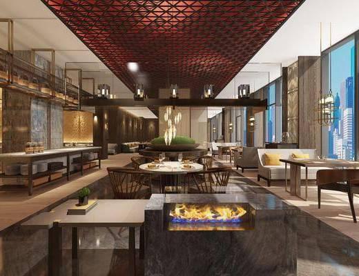 现代餐厅, 餐厅, 自助餐, 餐桌, 椅子, 吊灯, 餐具