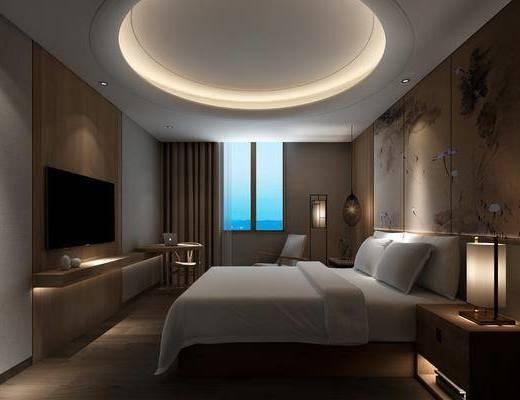酒店客房, 床头柜, 台灯, 落地灯, 吊灯, 单人椅, 书桌, 装饰品, 陈设品, 新中式
