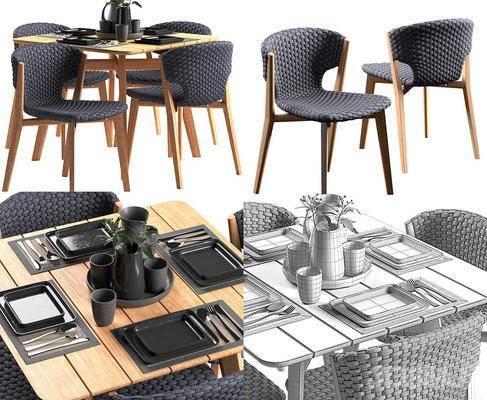 现代餐桌椅组合, 餐桌椅组合, 餐桌椅, 桌椅组合