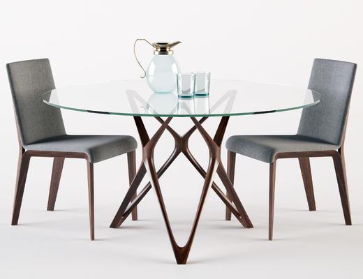 餐桌椅组合, 现代, 实木, 椅子, 餐桌, 餐椅