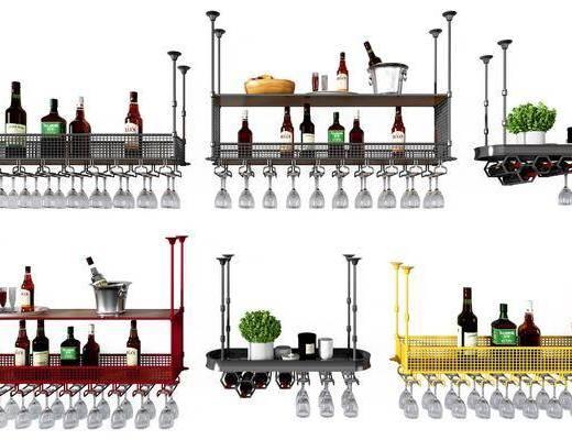 铁艺酒架, 酒架组合, 酒瓶酒杯, 现代