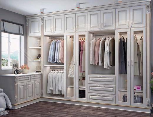 衣柜组合, 服饰组合, 衣帽间, 玩具组合, 衣架组合, 简欧