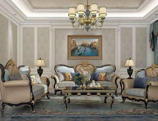 沙发组合, 多人沙发, 双人沙发, 单人沙发, 吊灯, 茶几, 装饰画, 挂画, 边几, 台灯, 欧式古典