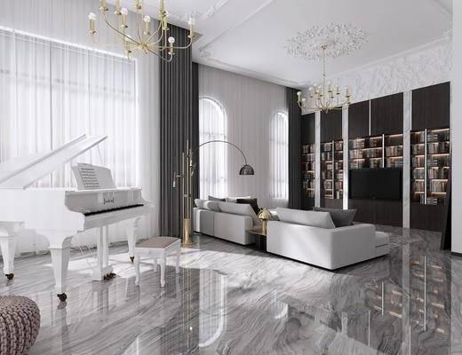 现代, 客厅, 餐厅, 沙发组合