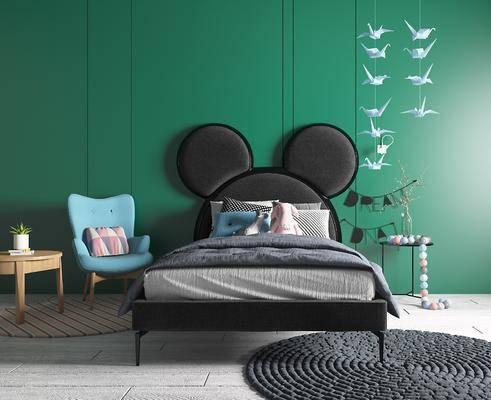 单人床, 单椅, 地毯, 背景墙