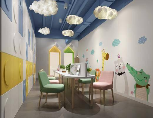 现代儿童阅读区, 书桌, 吊灯