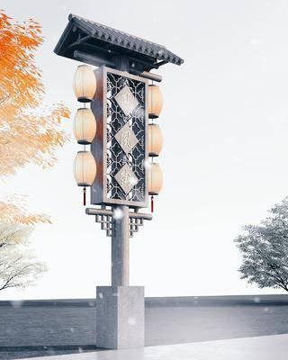 路灯, 木制索引牌, 广告标牌, 园林景观小品, 木结构, 指示牌, 导向标牌
