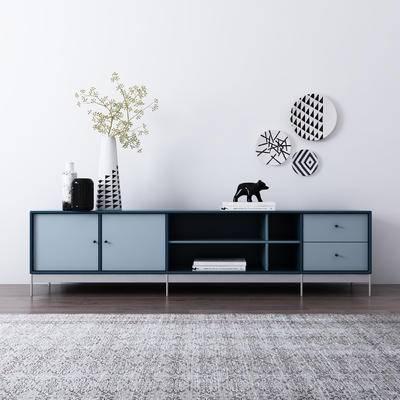 现代, 北欧, 电视柜, 花瓶, 墙饰, 陈设品
