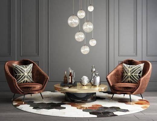 单人沙发, 茶几, 吊灯, 摆件, 装饰品, 陈设品, 现代