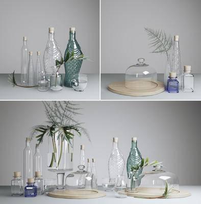 玻璃瓶, 绿植, 摆件, 现代, 花瓶