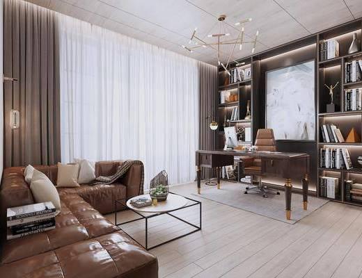 现代书房, 办公室, 书桌, 转角沙发, 吊灯, 茶几