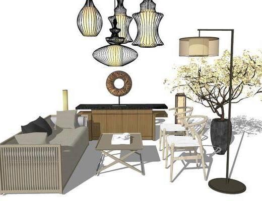 沙发组合, 吊灯, 落地灯, 单椅, 植物, 花瓶