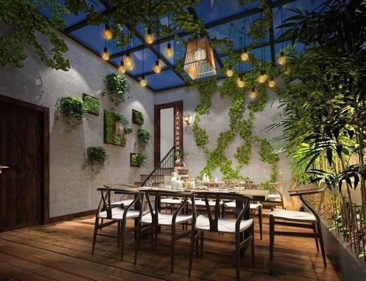阳光房, 阳台, 露台, 餐桌, 餐椅, 单人椅, 餐具, 竹子, 绿植植物, 吊灯, 中式