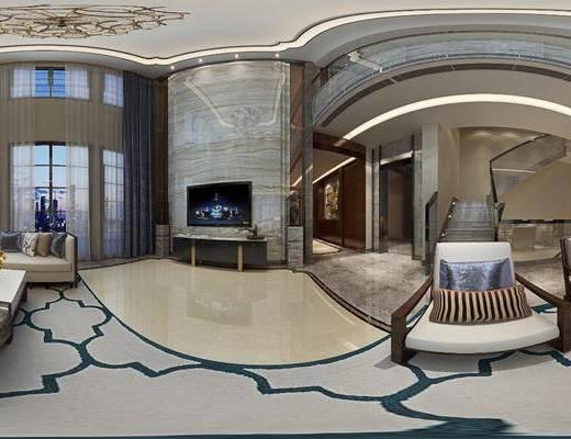 客厅, 餐厅, 全景图, 新中式客餐厅, 沙发组合, 茶几, 摆件组合