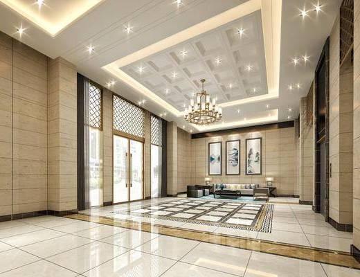 新中式大廳, 大廳, 電梯間