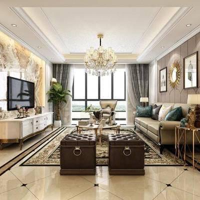 客厅, 沙发, 茶几, 凳, 沙发凳, 边几, 太低端, 吊灯, 装饰镜, 壁灯, 电视墙, 电视柜, 摆件, 装饰品, 植物, 盆栽, 单椅, 休闲椅, 挂画, 装饰画, 地毯, 石膏线, 美式, 简约, 简美