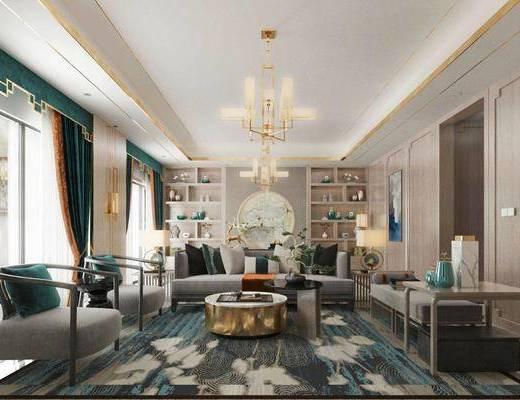 沙发组合, 茶几, 吊灯, 电视柜, 摆件组合