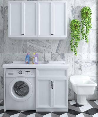 洗衣机, 洗手台, 绿植植物, 现代