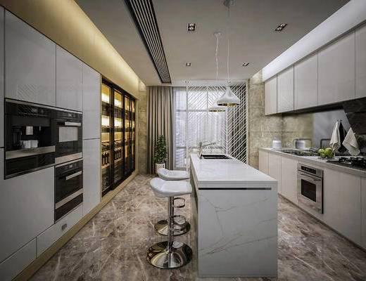 厨房, 橱柜, 吧台, 吊灯, 烤箱, 厨具