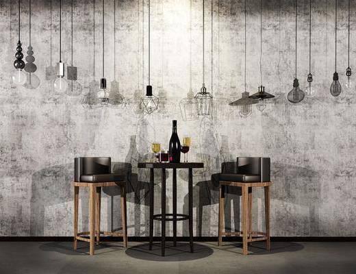 吧台, 吧椅, 摆件, 吊灯, 工业风